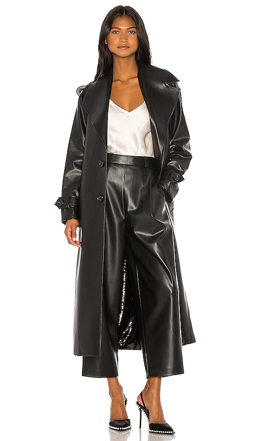 Double Sided Faux Leather Sequin Trench