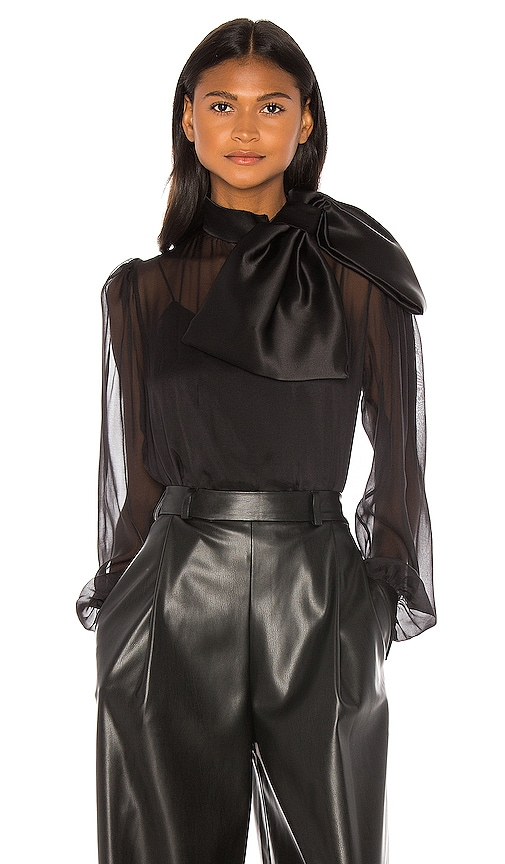 High Neck Drape Front Silk Bow Blouse