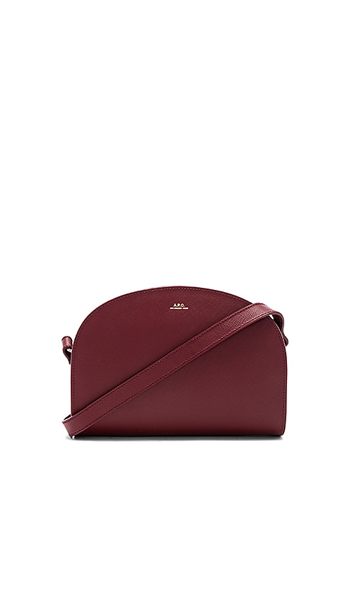 A.P.C. Sac Demi Lune Bag in Burgundy