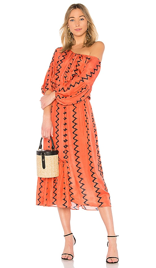 APIECE APART Camellia One Shoulder Dress in Brick