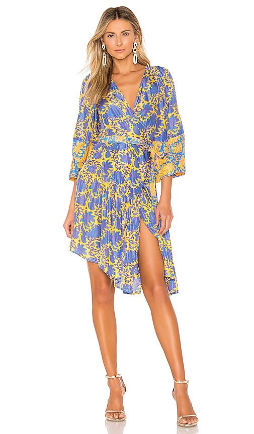 Short Bougainvillea Wrap Dress