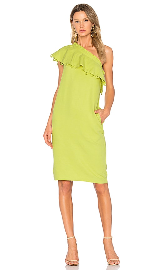 APIECE APART Reina One Shoulder Ruffle Dress in Lemon