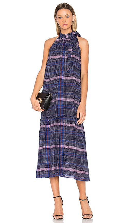 APIECE APART Solazure Tie Neck Dress in Navy