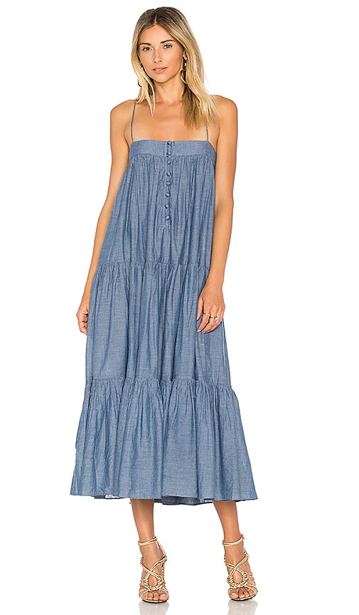 APIECE APART Tangiers Spaghetti Dress in Blue