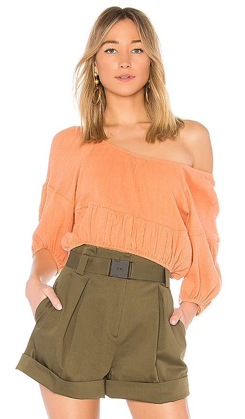APIECE APART Amber One Shoulder Top in Brick