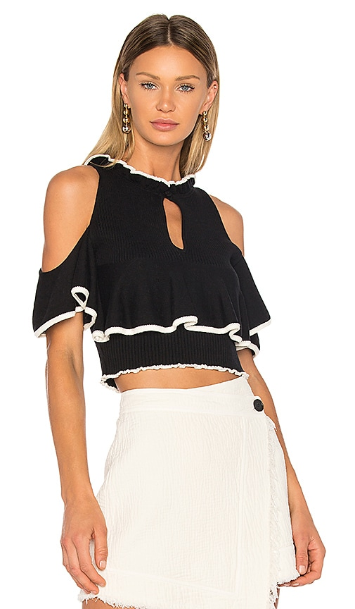 APIECE APART Knit Cold Shoulder Top in Black & White