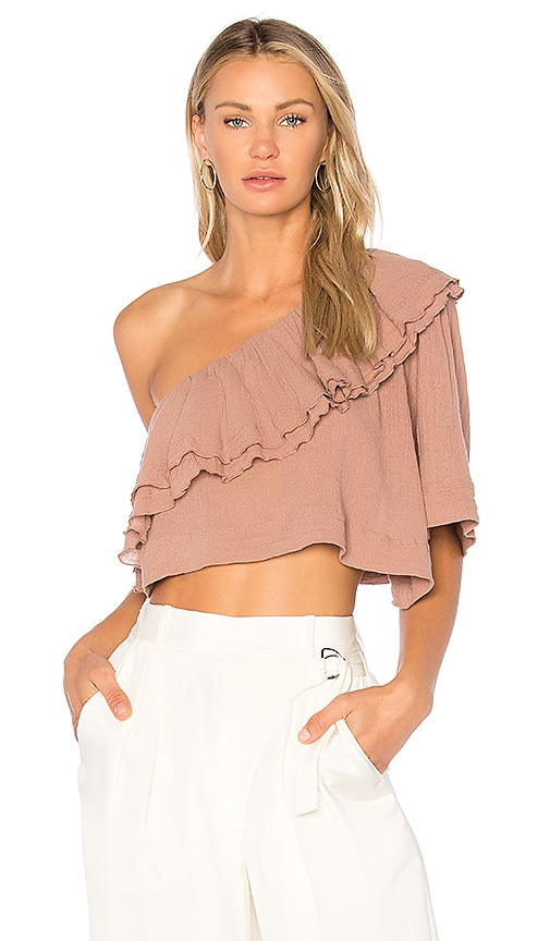 APIECE APART Botanica One Shoulder Top in Mauve