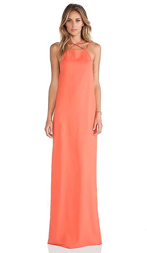 AQ/AQ Verses Maxi Dress in Coral