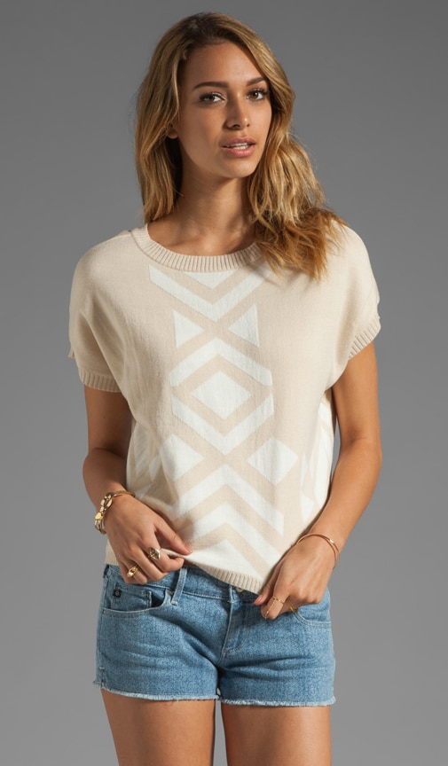 Ynez Short Sleeve Intarsia Sweater