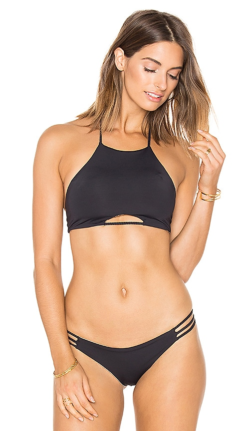 ARROW & EVE Morgan Braid Reversible Halter Top in Black