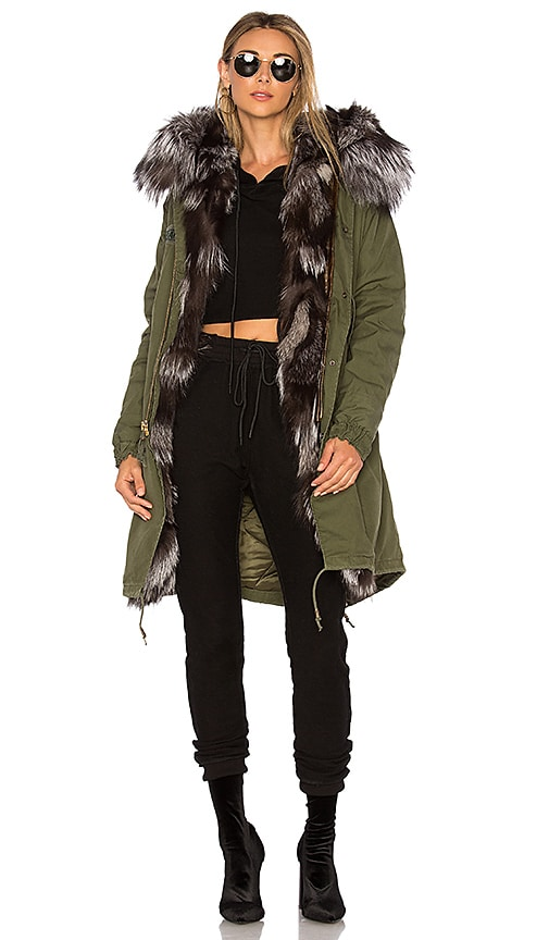 AS65 Long Parka With Silver Fox Fur Hood in Green