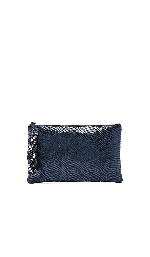 Ash Janis Clutch in Blue Metallic