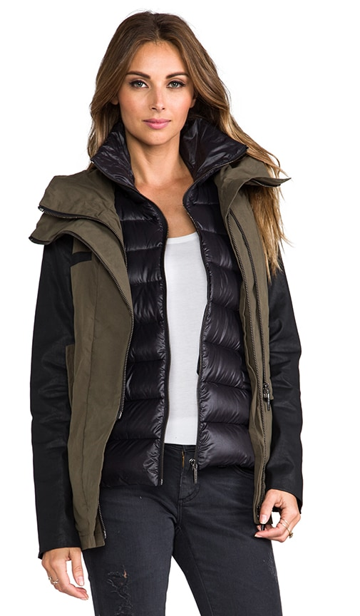 Coated Sleeve Military Jacket With Vest