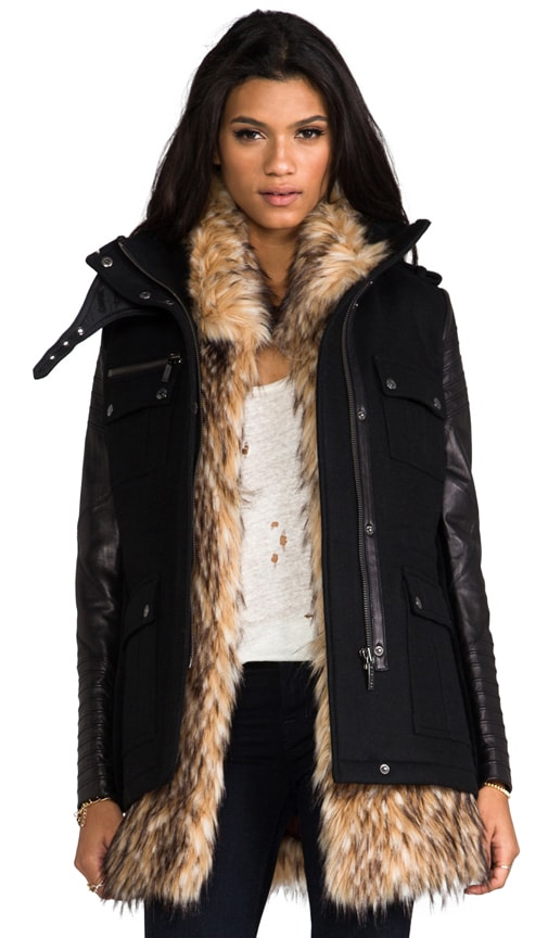 Leather Sleeved Military Jacket with Removable Faux Fur Vest