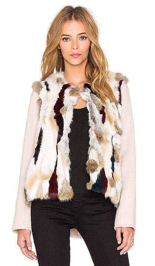 ashley B Rabbit Fur Patchwork Jacket in Multi & Beige