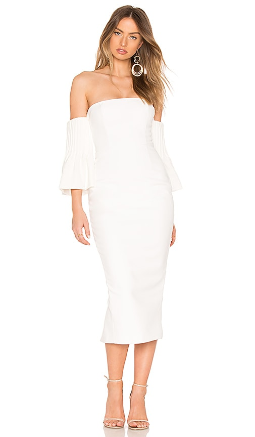 ASILIO Yolanda Off Shoulder Pintuck Dress in White