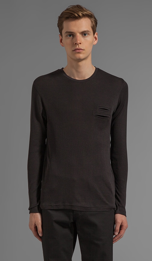 Fabric Mix Long Sleeve Tee