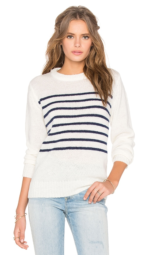 Assembly Label Mohair Crew Neck Knit Top in Ivory