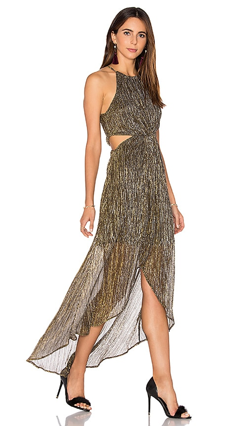 ASTR Veda Dress in Metallic Gold