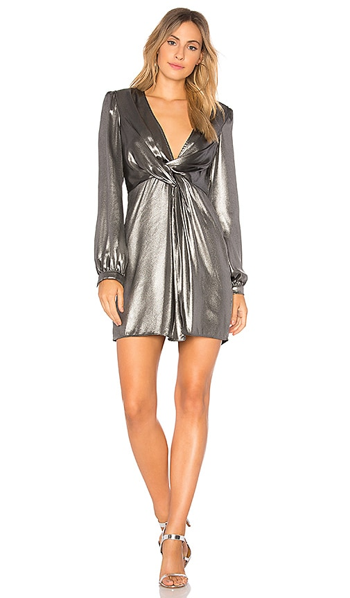ASTR Dominique Dress in Metallic Silver