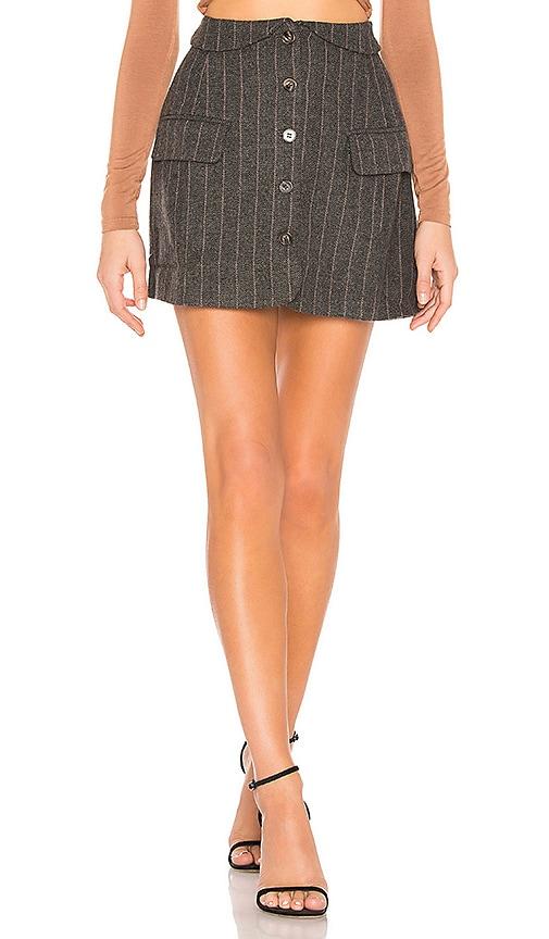 Wilshire Skirt In Charcoal & Brown Stripe