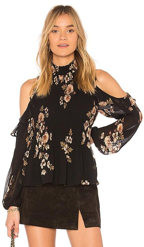 c6b8c4231ebcc4 Astr Shae Floral-Print Pleated Cold-Shoulder Top In Black Pink Floral