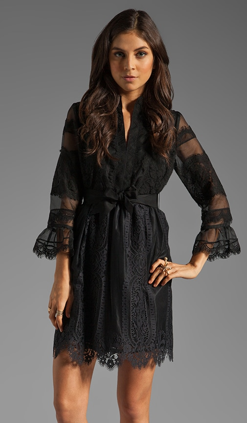 Organza and Lace Long Sleeve Half Placket Dress