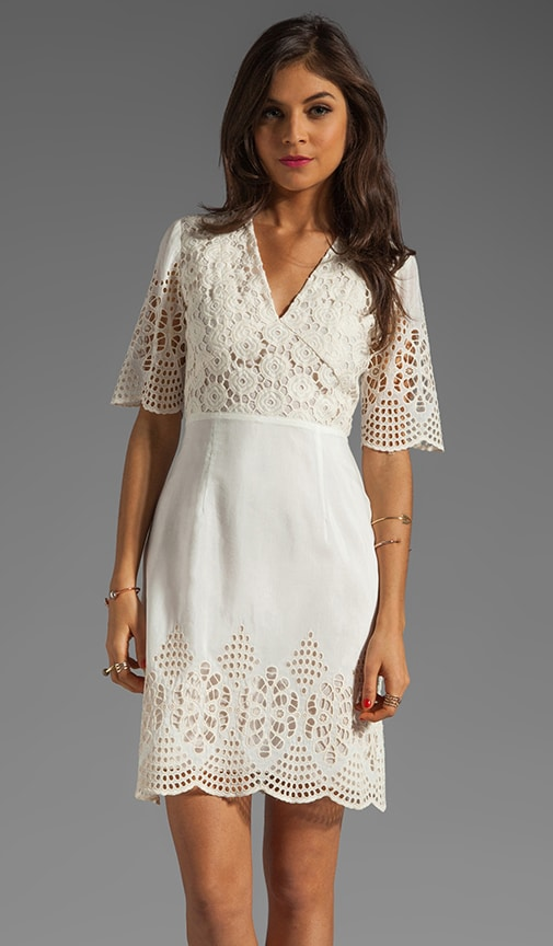 Bohemian Eyelet Embroidered Short Sleeve Dress