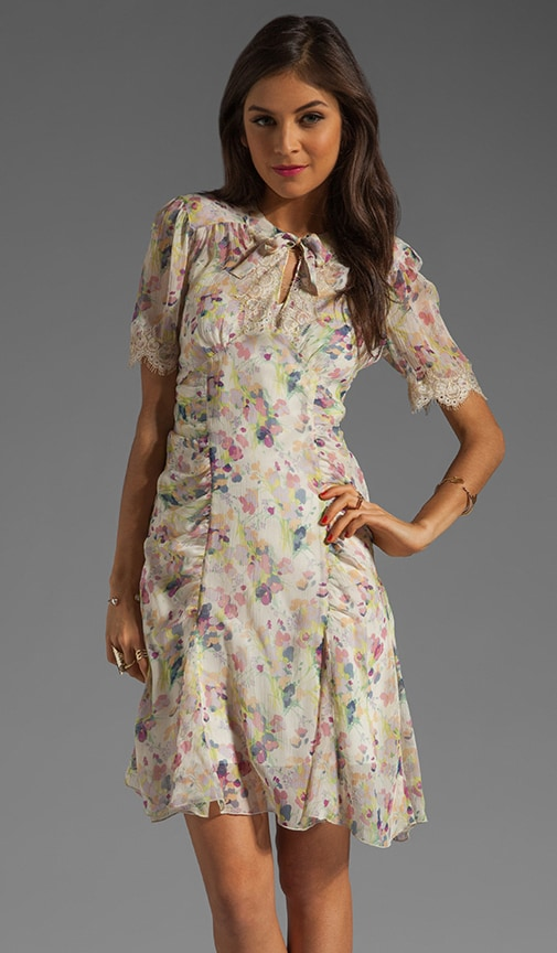 Bouquet Toss Print Crinkle Chiffon Dress