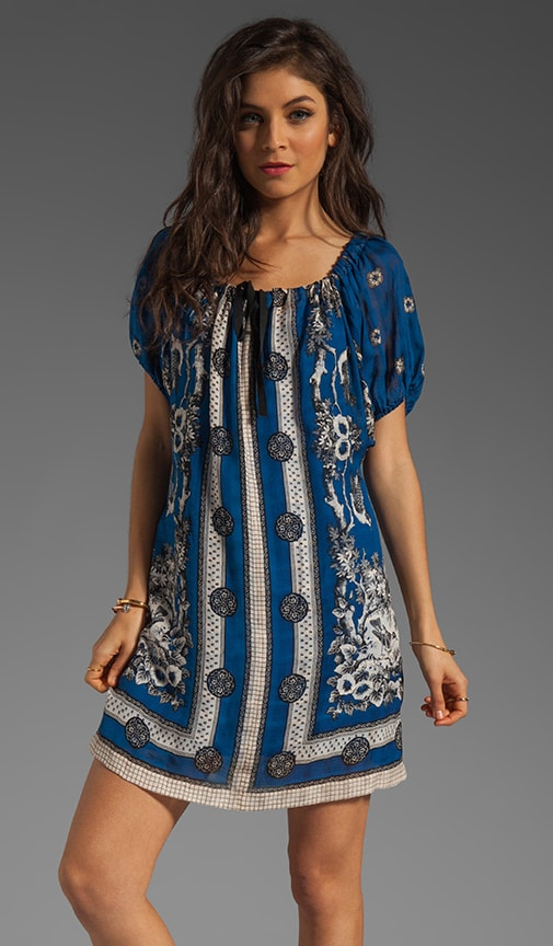 RUNWAY Blue Bird Scarf Print Jacquard Dress
