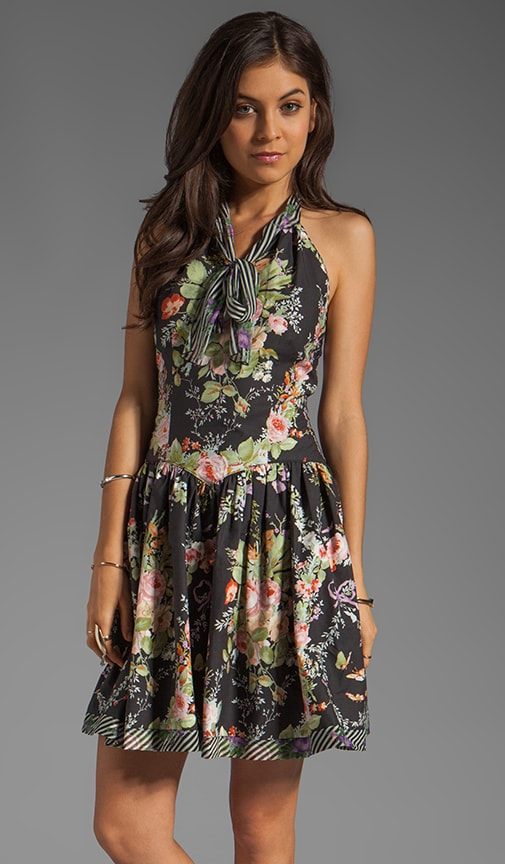 RUNWAY Floral Wreath Print Cotton Poplin Halter Dress