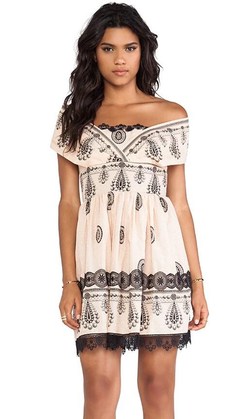Cameo Border Print Mesh Dot Jacquard Dress