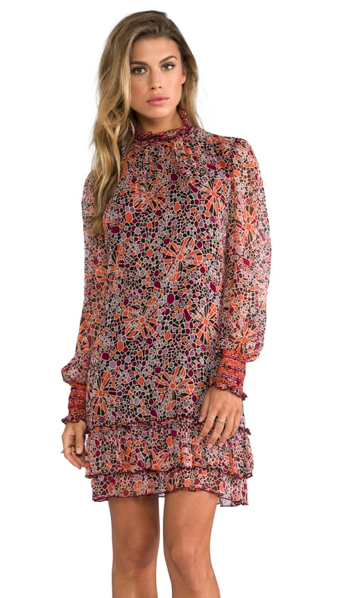 Pop Squares Printe Mesh and Mosaic Flora Print Crinkle Chiffon Long Sleeve Dress