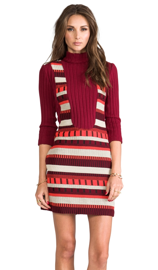 RUNWAY Ladder Stripe Woven Jacquard Dress