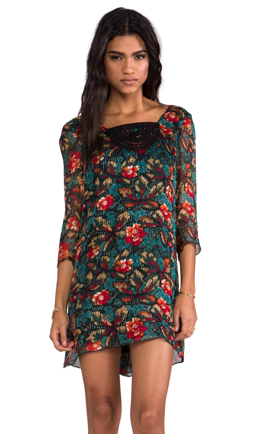 Fauve Floral Print Gauze Dress