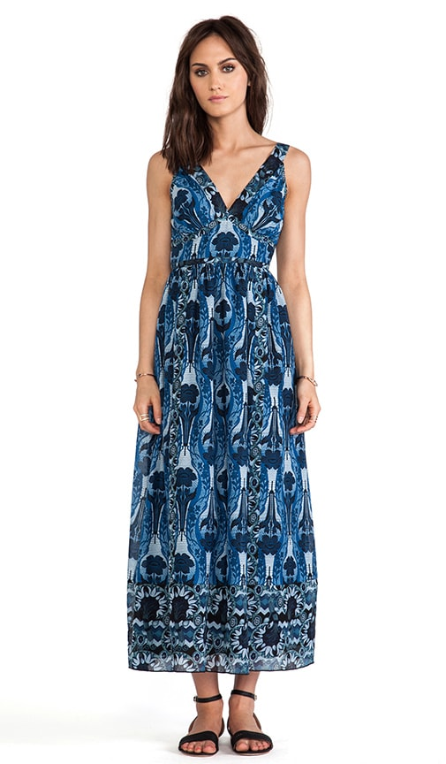 Zig Zag Bouquet Print Maxi Dress