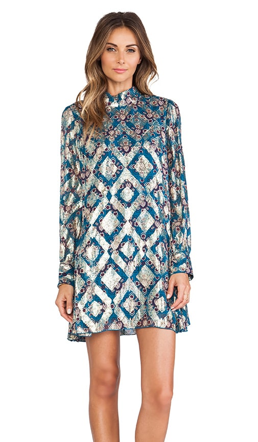 Aztec Foulard Print Mini Dress