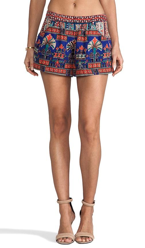 Egyptian Revival Stripe Border Print Silk/Linen Shorts