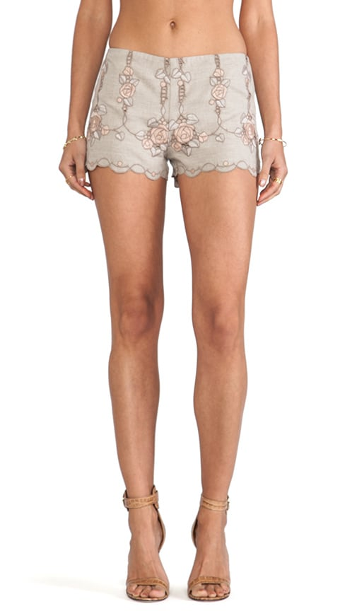 Rose Border Embroidered Shorts