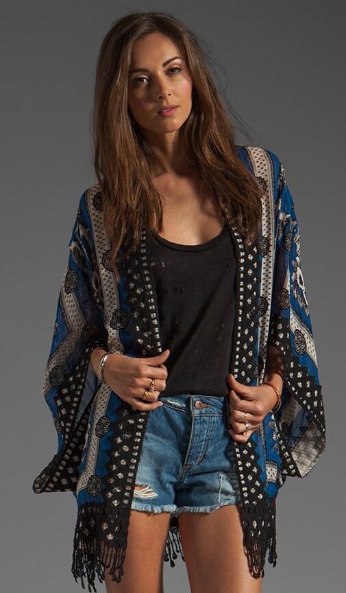 RUNWAY Blue Bird Scarf Print Jacquard Kimono