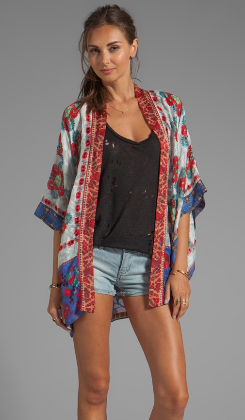 Daisy Chain Scarf Print Jacquard Kimono