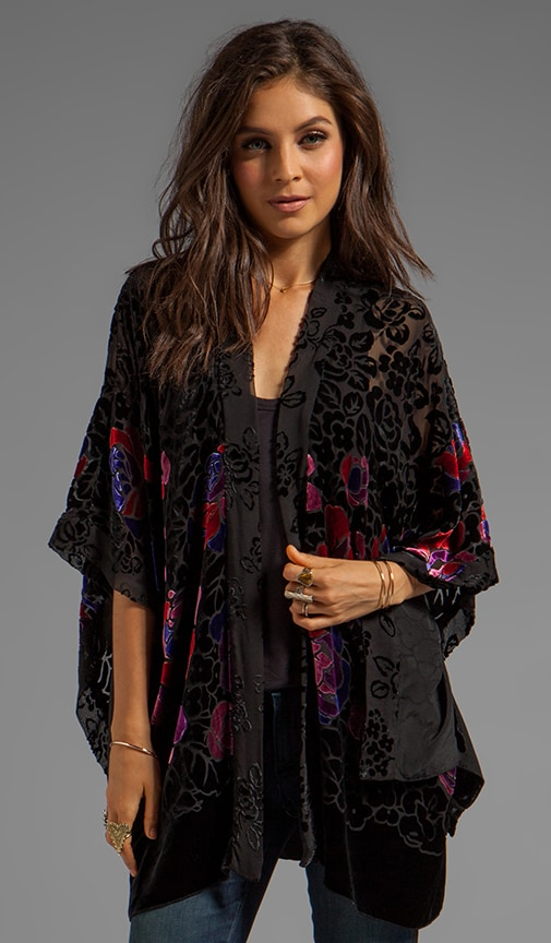 Rose Border Burnout Velvet Open Cardigan