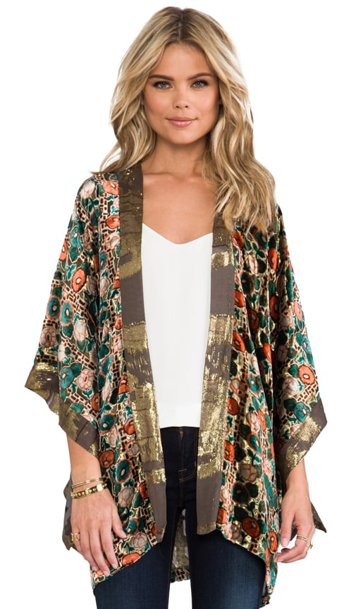 Klimt Print Burnout Metallic Stripe Velvet and Metallic Chiffon Clip Jacquard Open Cardigan