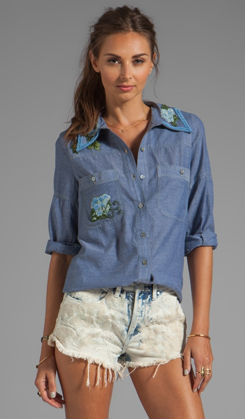 Embellished Chambray Top