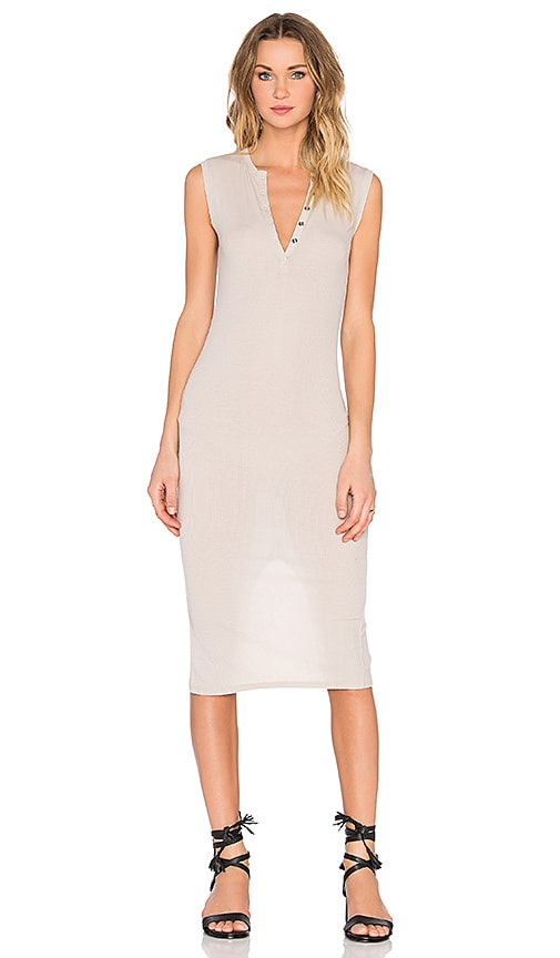 Sleeveless Henley Midi Dress