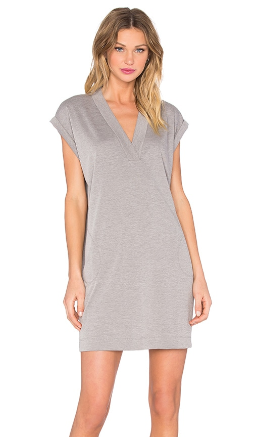 ATM Anthony Thomas Melillo Extended Shoulder V Neck Dress in Gray