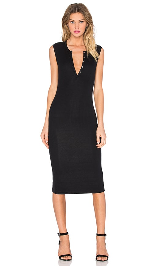 ATM Anthony Thomas Melillo Sleeveless Henley Midi Dress in Black