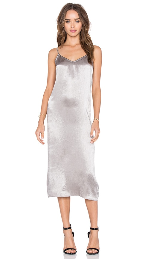 ATM Anthony Thomas Melillo Deev V Slip Dress in Metallic Silver