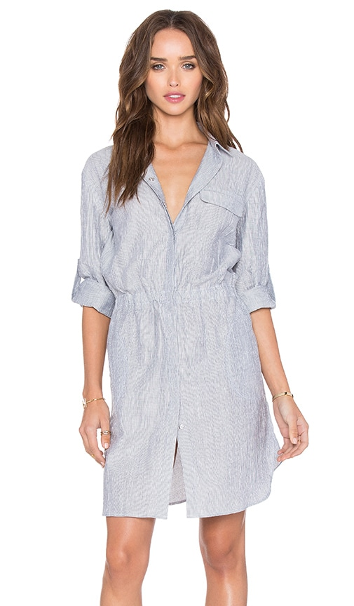 ATM Anthony Thomas Melillo Crinkle Shirt Dress in Indigo & White