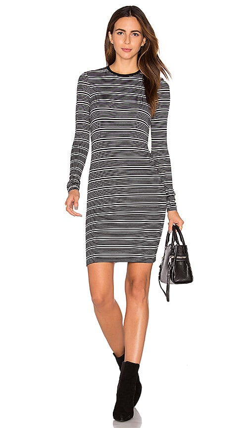 ATM Anthony Thomas Melillo Stripe Long Sleeve Dress in Black & White
